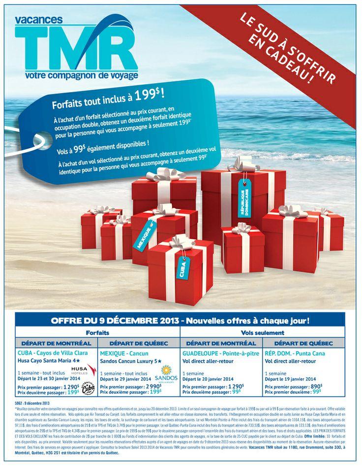 C'est déjà Noël! Une nouvelle offre #voyage par jour d'ici le 20 décembre ! Voici l'offre du 9 décembre 2013. #caaqc #sud