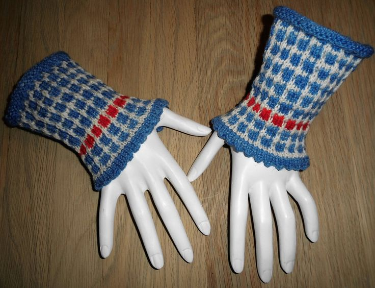 Hand Knit Wrist Warmers In Handpainted Wool Traditional Slip Stich Pattern