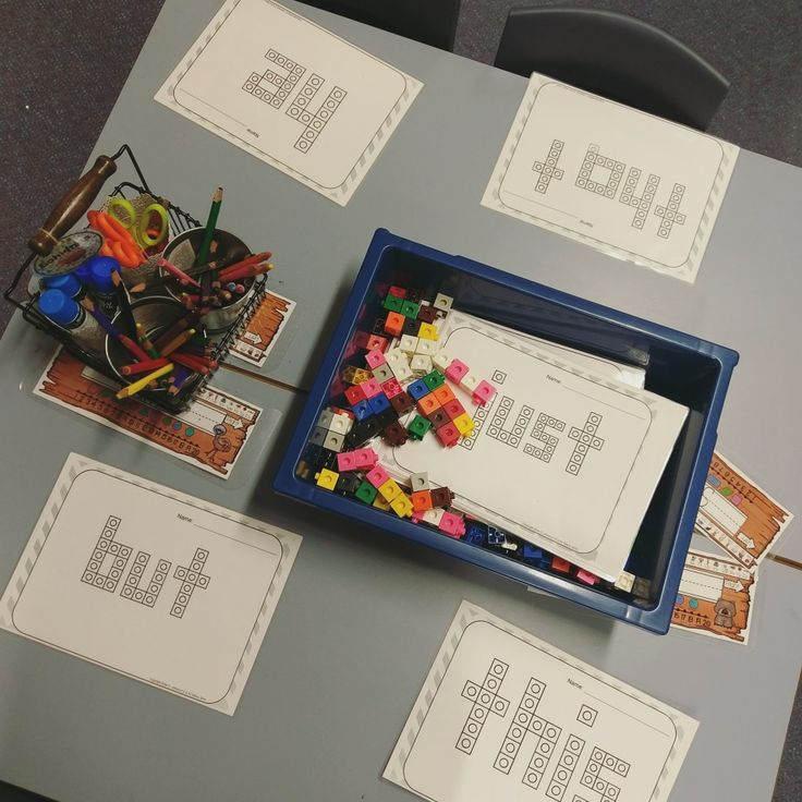 Sight word snap cube fine motor activity for literacy groups