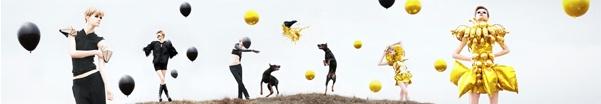Daisy Balloon | FIERCIVE  artwork : rie hosokai (daisy balloon)  artdirection : takashi kawada (kotenhits)  Photographer : Tomohiko Tagawa(juice)  Stylist : Hideo Tamura  Make-up Artist : Rika Tanaka  Hair Stylist : Moriya K-suke(Ari・gate)  Model : Daniela Kocianova (Donna models)  Dog Model : Mac Cooperation : Masafumi Uesugi (Shonan Kamikaze)