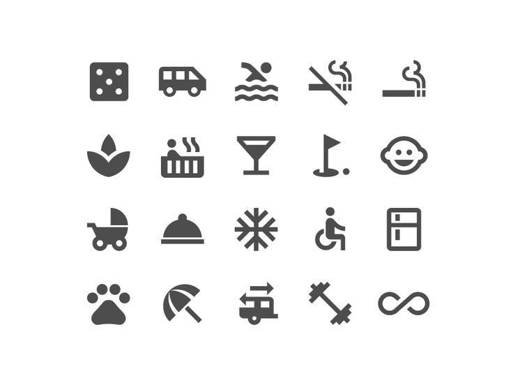 Hotel amenities icon set by German Kopytkov