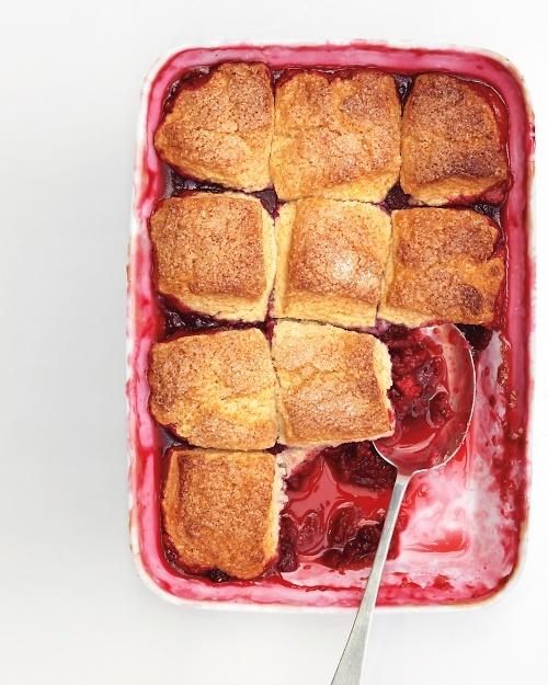 Raspberry Cobbler - Martha Stewart Recipes.: Berries Desserts, Biscuits Tops, Fruity Based, Cobbler Recipes, Inten Fruity, Raspberries Cobbler, Berries Fine, Sweet Biscuits, Martha Stewart