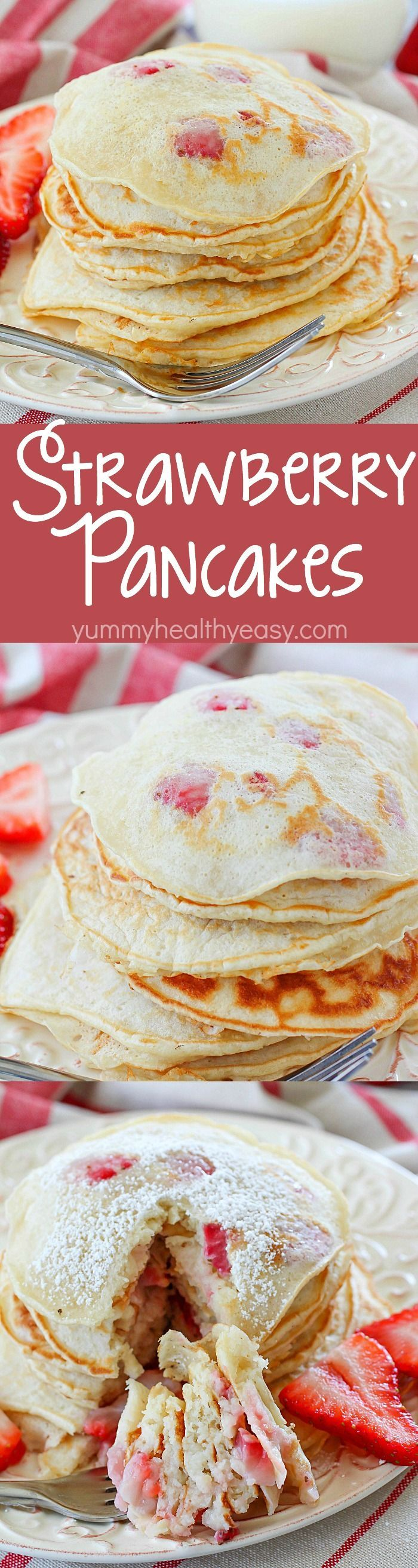 Start your day right with a stack of Strawberry Pancakes! These pancakes are packed with cubed strawberries and are so light and fluffy! They're a quick and easy to make breakfast the whole family will love!