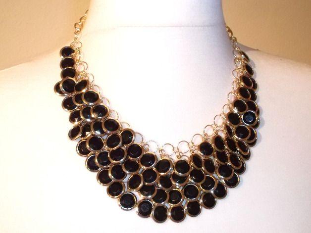 Bohemian Style Halskette, schwarz goldfarben