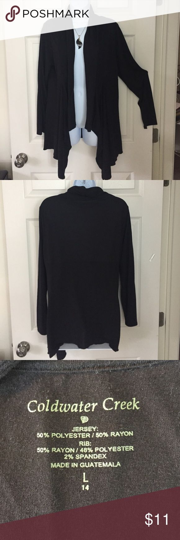 Coldwater Creek cardigan Black light weight cardigan.  Wonderful draping in front. Coldwater Creek Sweaters
