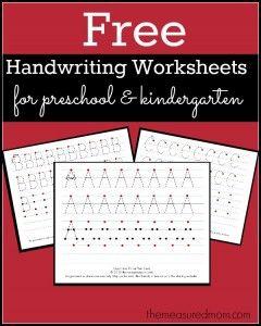 Free Printable Handwriting Worksheets for Preschool & Kindergarten - The Measured Mom