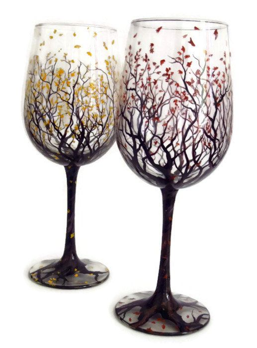 Autumn, Fall, Falling Leaves, Tree, Glassware, Wine Glasses, Hand Painted, Custom, Colors-Sold Paired or Single, Rusty, golden, October