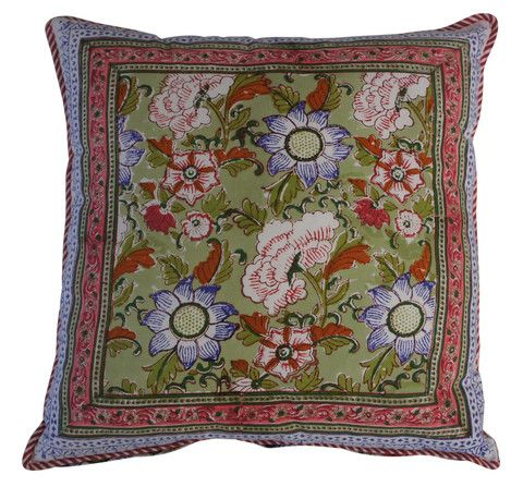 Gorgeous hand block printed floral cushion in green, blue and pink.  Ethical and environmentally friendly construction that preserves and celebrates traditional artisan skills.  Hand-block printed in India.  100% natural cotton cover with NZ made polyfill inner.  Dimensions: 45x45cm