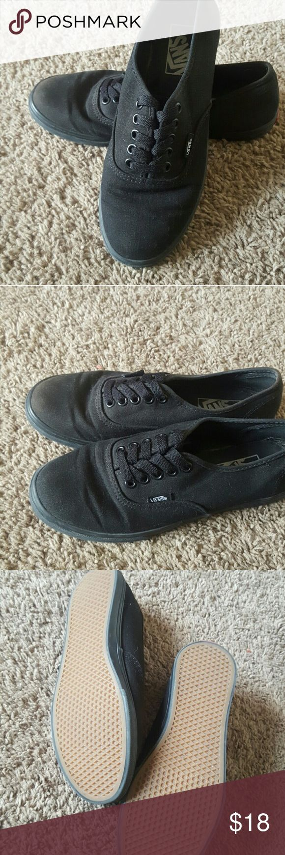 Low profile all black vans Low profile all black vans. Woman's size 7.5 men's size 6. Worn a handful of times. Great condition. Vans Shoes Sneakers