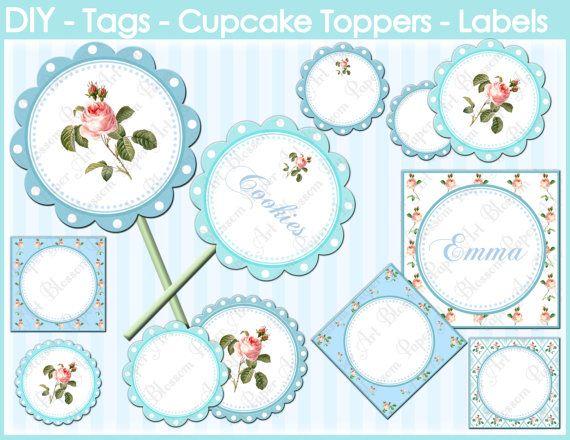 Cupcakes Toppers - Light Blue Flowers - Digital - Etiquetas Imprimibles - Fiestas - Bodas - Etiquetas bufé Candy - 1557