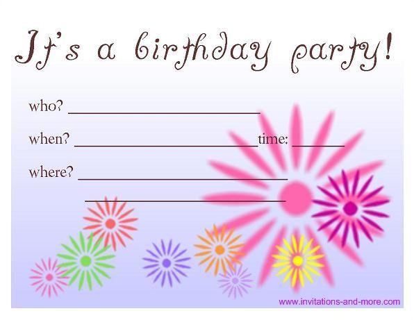 Birthday Party Invitations Free – Bagvania FREE Printable Invitation Template