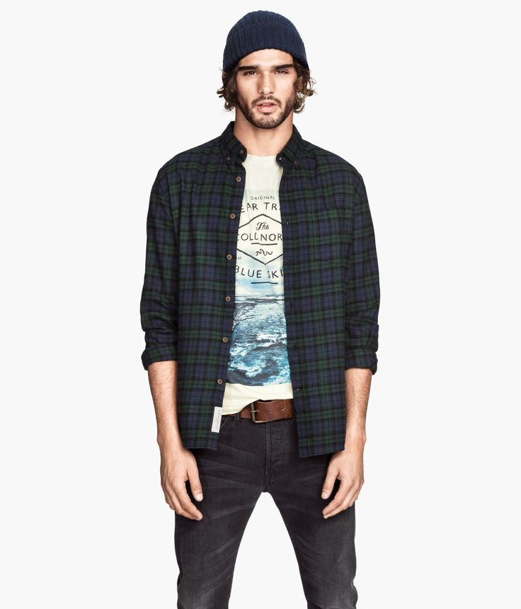 Cotton Flannel Shirt In Green Blue And Black Plaid With
