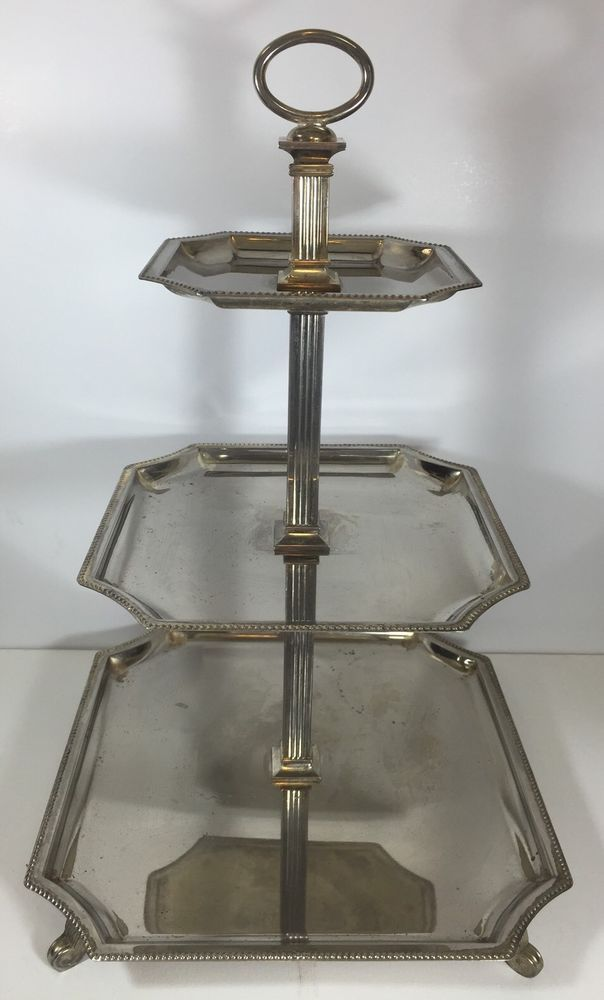 Vintage Godinger Footed 3 Tier Buffet Server Tray TePastry Stand Tray Easy Store #Godinger # & 22 best Silver \u0026 Silver Plate images on Pinterest | Silver plate ...