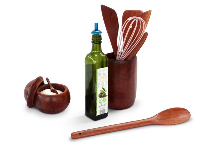 Image of a Red Hardwood Kitchen Spoon with bottle and jar