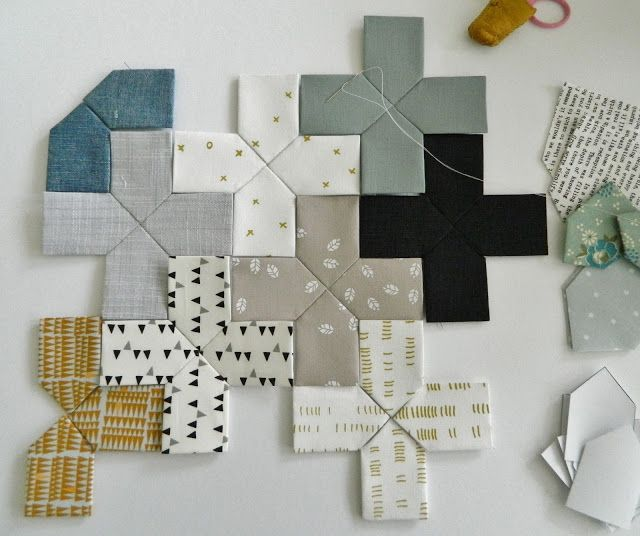 s.o.t.a.k handmade: epp pluses.  Some Maze & Vale fabrics are used.