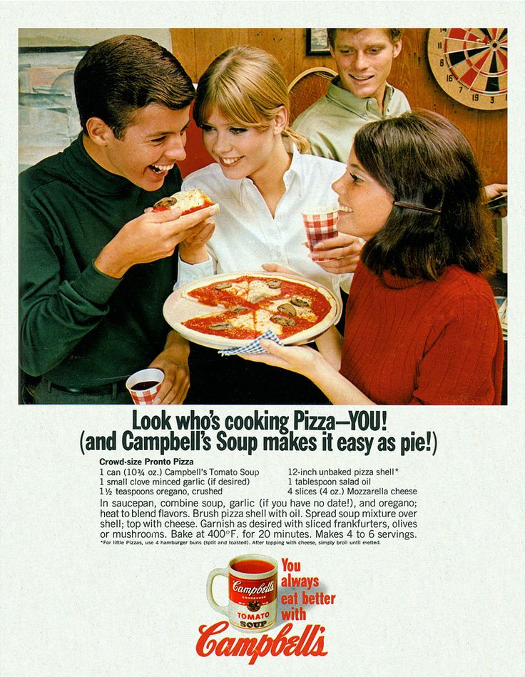 Campbell's Tomato Soup Pizza.  Named Crowd-Size Pronto Pizza by the good folks at Campbell's, who thought this would be a hit at teenage parties.  (1967)