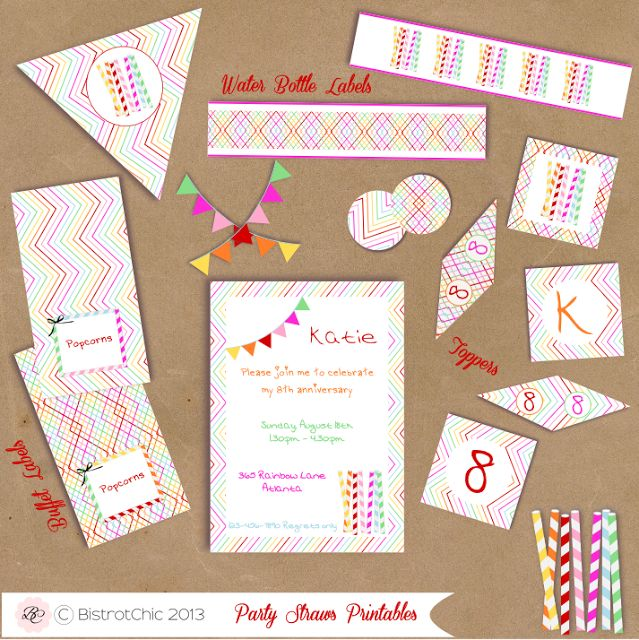 Rainbow & Striped Straws Personalized party printables by BistrotChic ®