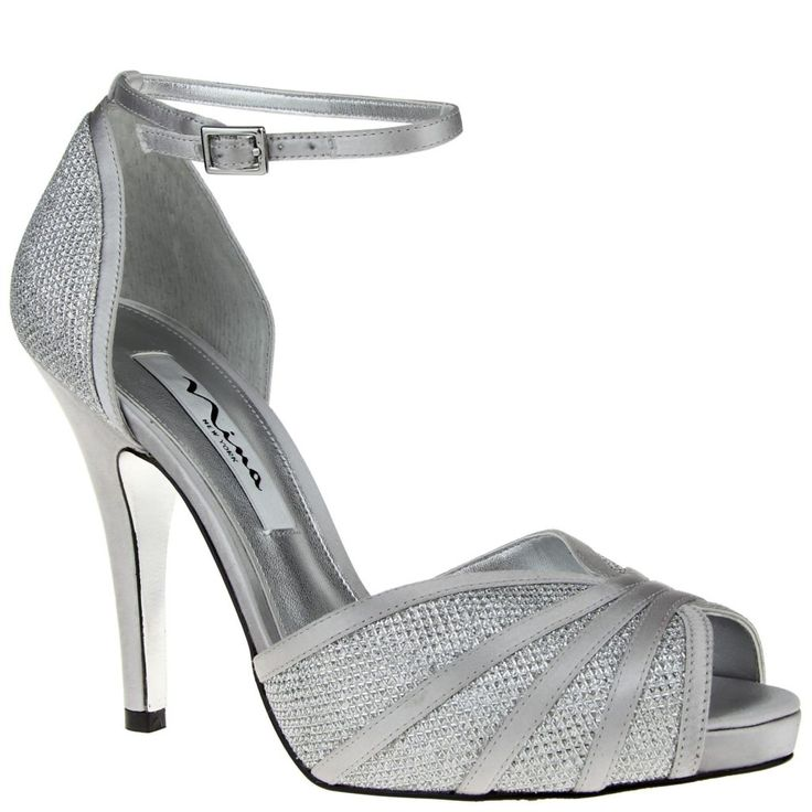 Nina Women's Elaine Silvertone Glitter High-Heel Shoe.   Open-toe shoes with stiletto heel, glittery detailing at the toe and heel, and an adjustable ankle strap which secures with a square buckle.