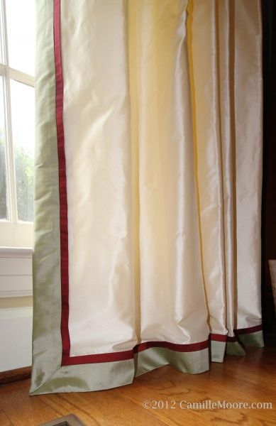 Double Banded Curtain Silk Draperies With 1 Break On Floor Slight Buckling On The Floor