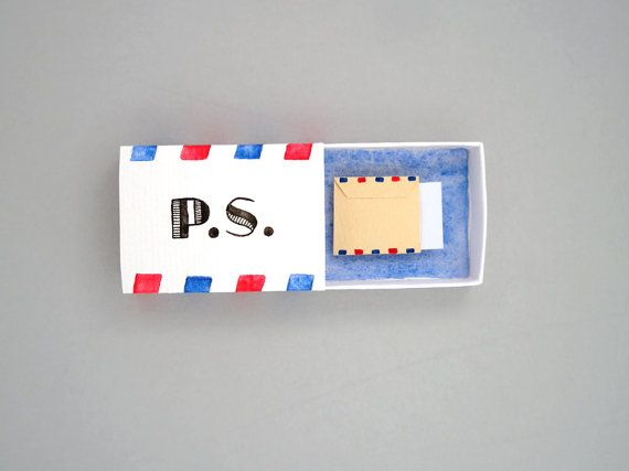 PS I love you, love post, boyfriend gift, girlfriend gift, love card, valentines day, matchbox art, message box, you have mail, anniversary gift for him Send a little reminder to someone you love! A matchbox, painted on the