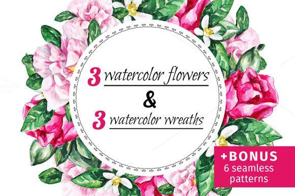 Watercolor flowers collection by Svetlana Kazakova on @creativemarket