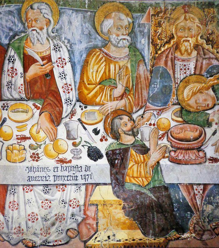 Giovanni Baschenis - Ultima cena (dettaglio) - affresco - 1471 - Chiesa di San Uldarico, Rumo (Trento, Italia)