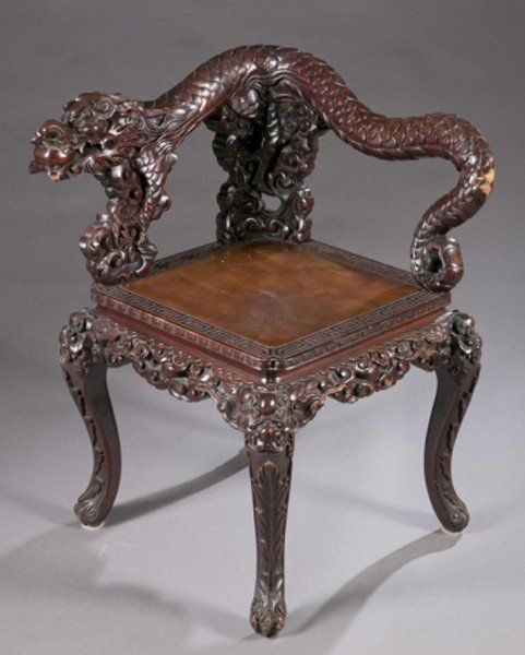 Chinese Carved Chair | Chinese carved wood corner chair w/ dragon : Lot 434