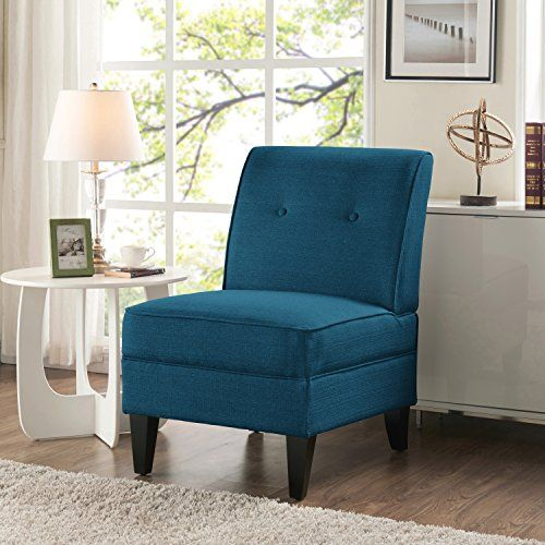 Best Handy Living Courtney Peacock Blue Linen Armless Chair For 400 x 300