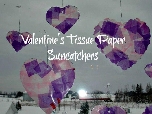 Valentine's Heart Tissue Paper Suncatchers
