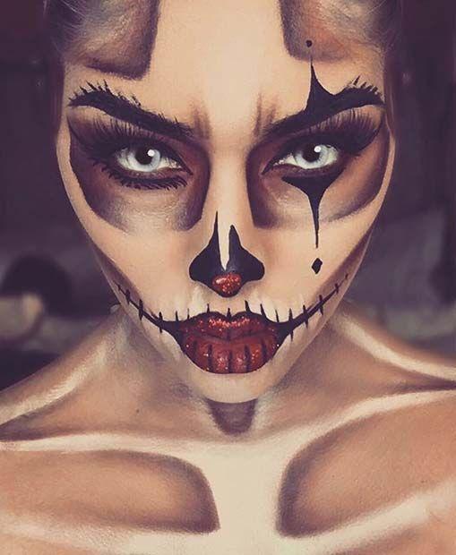 Skeleton Clown Halloween Makeup Idea for Women