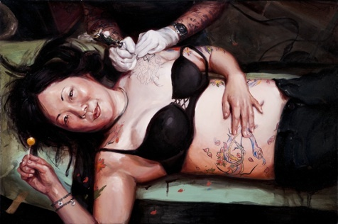 Book Explores Tattoo Culture through Paintings, Badassery: Margaret For, Exploring Tattoo, Barbers Art, Oil On Canvas, Portraits Paintings, Shawn Barbers, Mike Davis, Barbers 2012, Books Exploring
