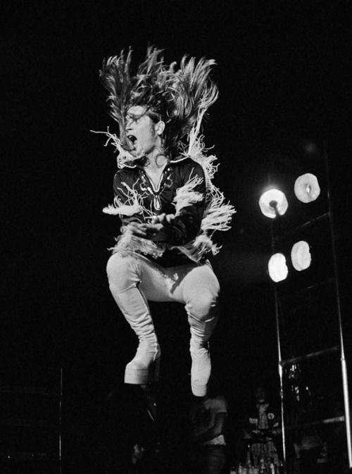Ozzy Airbourne flinging fringe, Black Sabbath, London 1975, by Steve Emberton