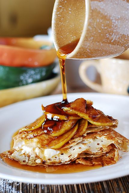 Crepes with ricotta cheese filling, apples, and honey by JuliasAlbum.com, via Flickr #recipe #crepes #apple