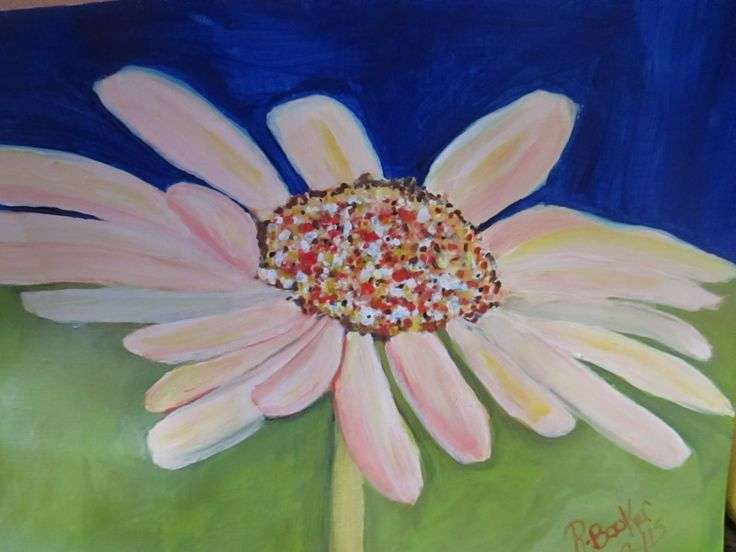 Happy Daisy mixed media original painting 9x12 in (Unframed) by BluberryHillBoutique on Etsy