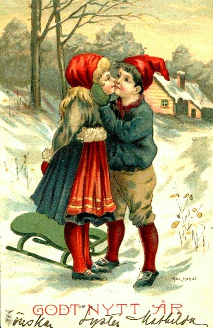 Tomtekyss Nyårskort signerat Max Hänel ca 1910