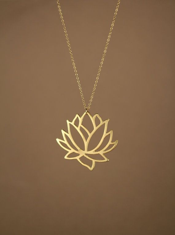 Lotus necklace gold lotus flower necklace blooming by BubuRuby, $28.00