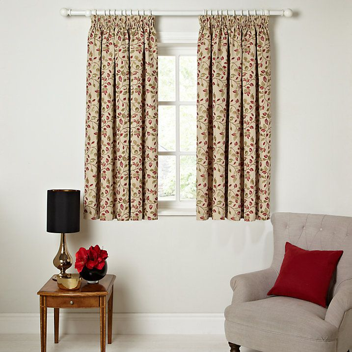 Buy John Lewis Sherwood Lined Pencil Pleat Curtains, Red / Green, W117 x Drop 137cm Online at johnlewis.com
