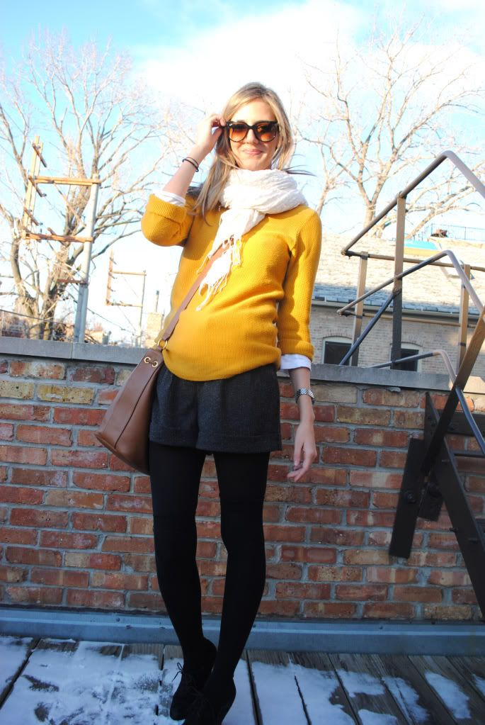 mustard sweater, wool shorts, tights, loafers. excellent.