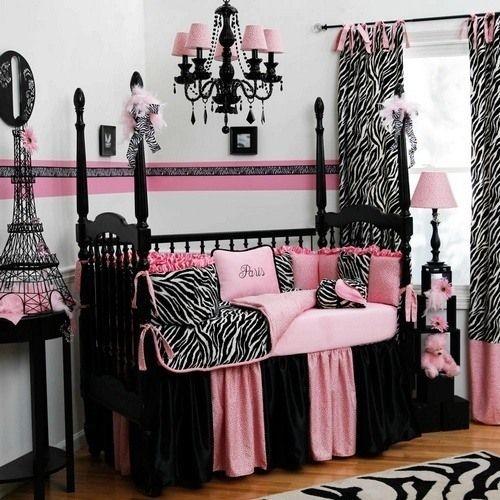 babyzimmer rosa schwarz paris thema kronleuchter