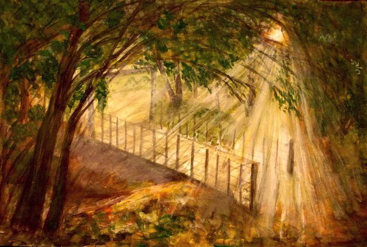 GALERIA PALOMO MARIA LUISA: MAGIA.....Arub Aisha Es.realmente impresionante el estilo de sus obras, Maria Luisa Palomo , excelencia y perfección se encuentra en todas ellas, mira esa entrada de luz, parece que fuera de oro. Logra un contraste total, resaltando la belleza del follaje de los árboles, que no es mucho, pero si lo suficiente, para lograr un contraste de luz con obscuridad. El talento de,, es por muchos conocido, y su sello es la perfección en toda la naturaleza
