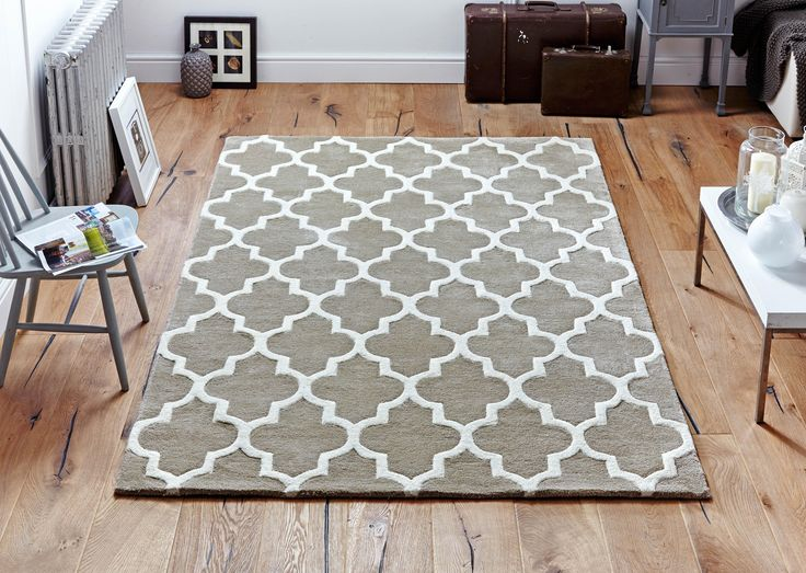Arabesque Beige Rug with an impressive design element to boast off. #modernrugs #beigerugs #handtuftedrugs #largerugs #woolrugs #viscoserugs