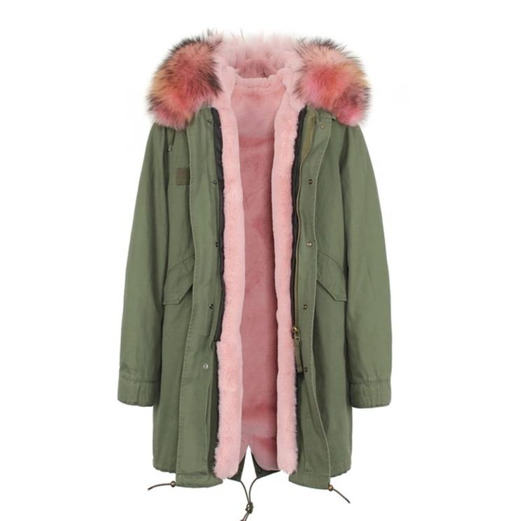 Women's 3 in 1 Army Green Long Winter Parka With Removable Fur Collar (Pink Fur) Sizes S-3XL solemate-mt.com #solemateMT #parka #3in1parka #winterparka #armygreen #furcollar #winteressentials #fallfashion #musthaves #glam #giftguide #poshpresents