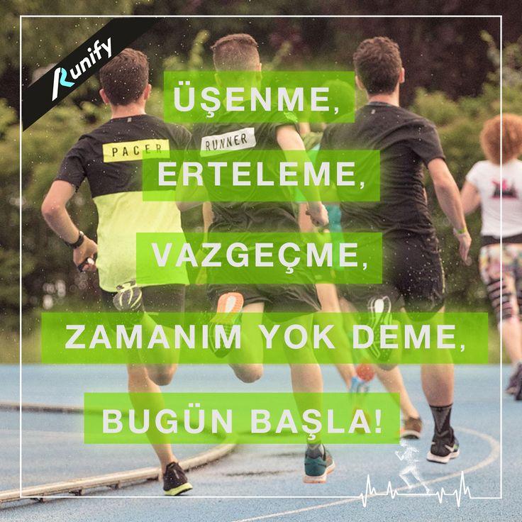 Üşenme, Erteleme, Vazgeçme, Zamanım yok deme, Bugün başla! #koşu #koşuyoruz #kosukadini #fitness #fit #sport #sağlık #yürüyüş #saglikliyasam #runifybebek
