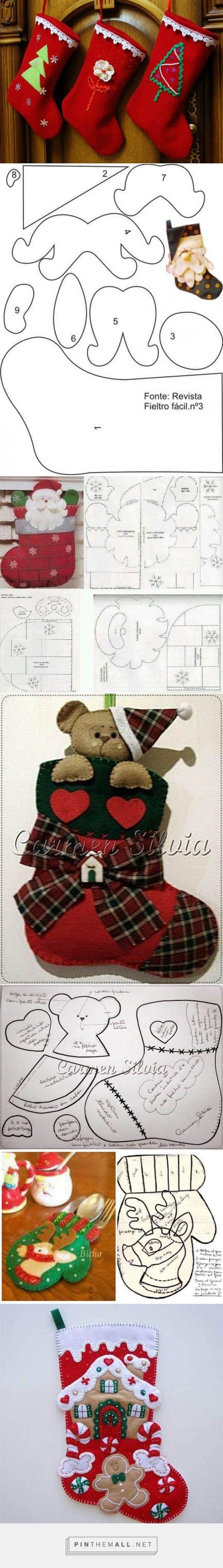 Moldes para hacer botas navideñas de fieltro gratis - created via https://pinthemall.net