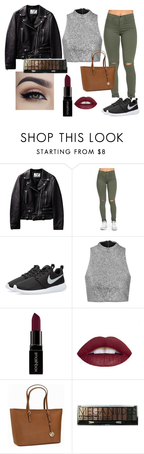 """""""don't tuch, you'll get burned #hot"""" by klara-kandare ❤ liked on Polyvore featuring NIKE, Topshop, Smashbox, MICHAEL Michael Kors, Boohoo, women's clothing, women, female, woman and misses"""