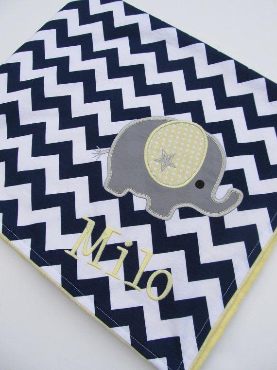 Personalized Baby Blanket 30x35- Minky Baby Blanket- Chevron Minky Blanket- Applique Baby Blanket- Custom Blanket- Chevron Bedding- Elephant