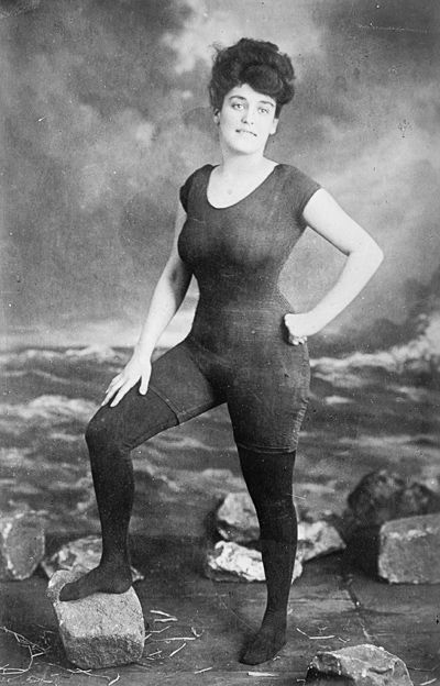 "Annette Kellerman: overcame physical disabilities to become a professional swimmer, vaudeville and silent film star; first woman to wear a one-piece swimsuit (& first to get arrested for it); first major actress to appear fully nude on camera; her water ballets are considered by many to have invented synchronized swimming; she dove into pools full of crocodiles and wrote aquatic fairy tales; a Harvard professor declared her ""the perfect woman"" for her measurements matched those of Venus de…"
