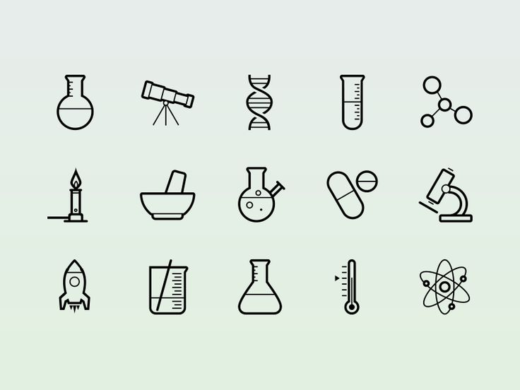Science! By @Tony Thomas  http://medialoot.com/item/vector-science-icons/                                                                                                                                                                                 Más