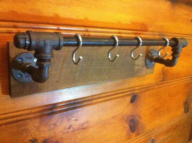 Industrial Pipe and Barn Wood - Coat Hooks / Towel Bar / Pot Hooks. $40.00, via Etsy.