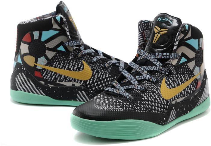 Womens Nike Kobe 9 Shoes Gold Blue Red Black3